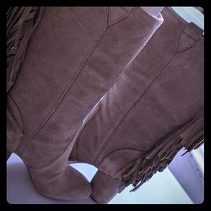Taupe suede w/ Fringes nine West boots